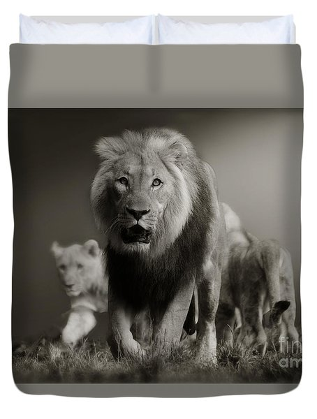 Duvet Cover featuring the photograph Lions On Their Way by Christine Sponchia