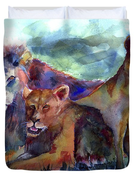 Lion's Play Duvet Cover