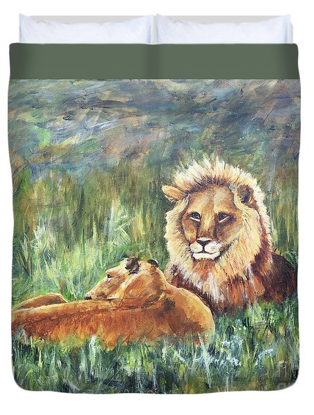 Lions Resting Duvet Cover
