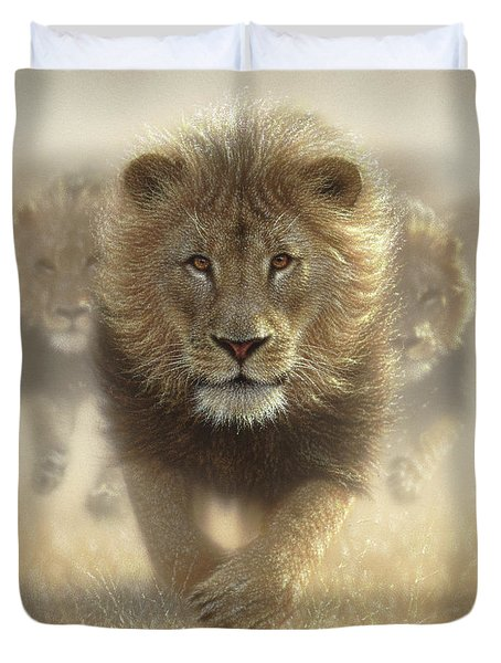 Lions Running - Eat My Dust Duvet Cover