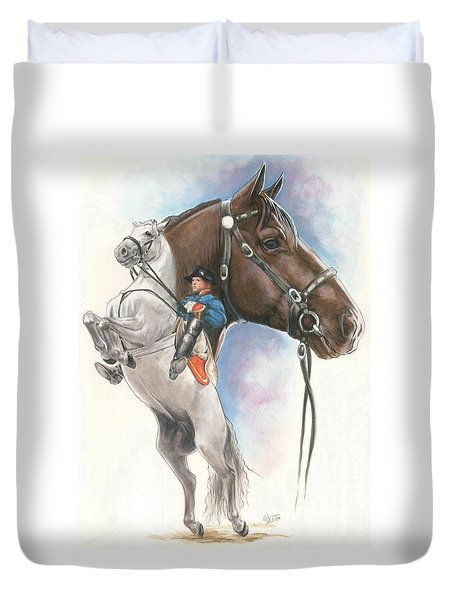 Duvet Cover featuring the mixed media Lippizaner by Barbara Keith