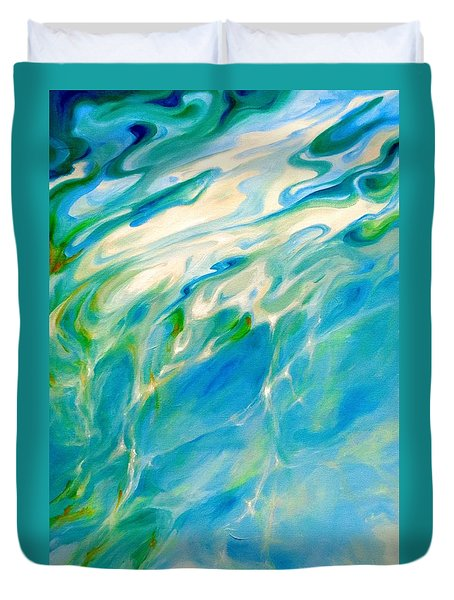 Duvet Cover featuring the painting Liquid Assets by Dina Dargo