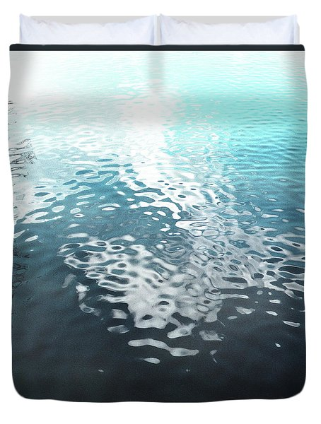 Duvet Cover featuring the photograph Liquid Blue by Rebecca Harman