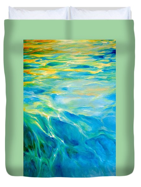 Duvet Cover featuring the painting Liquid Gold by Dina Dargo