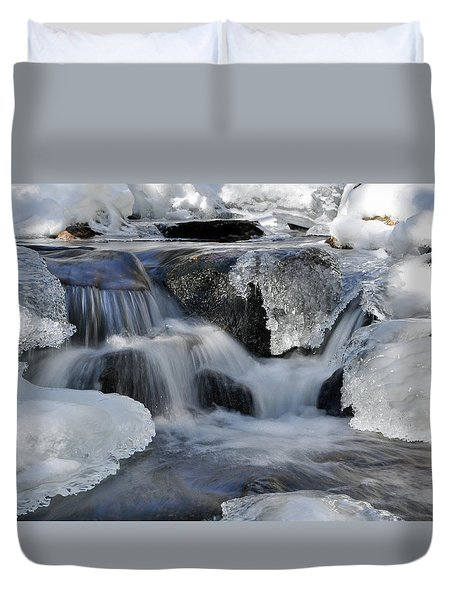 Duvet Cover featuring the photograph Winter Waterfall In Maine by Glenn Gordon