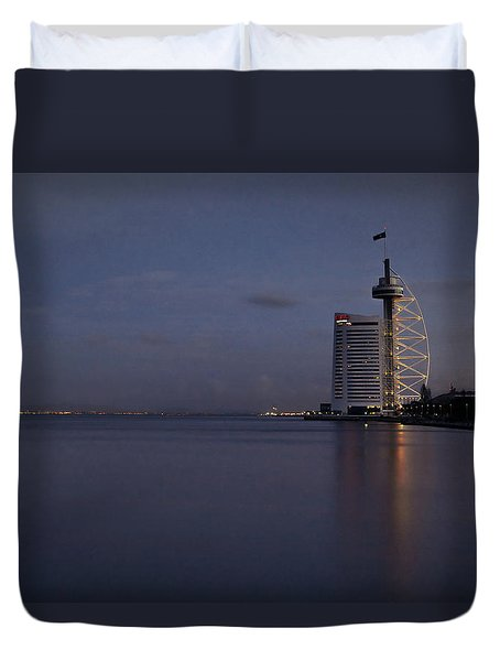 Lisbon Night Scene Duvet Cover by Marion McCristall
