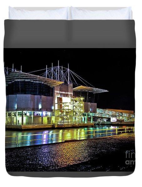 Lisbon - Portugal - Oceanarium At Night Duvet Cover