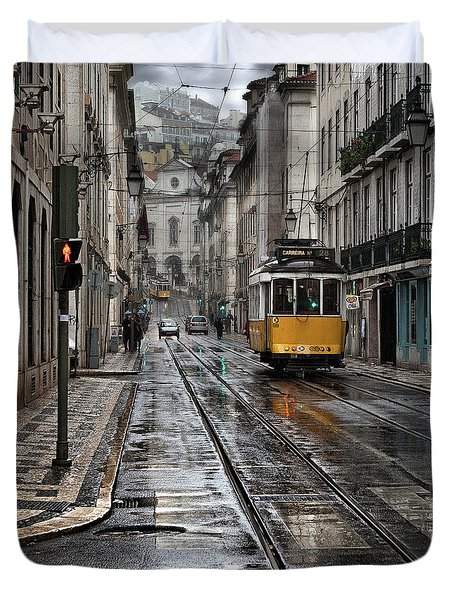 Duvet Cover featuring the photograph Lisbon Streets by Jorge Maia