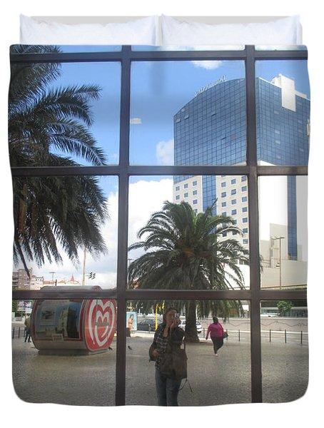 Lisbon Urban Landscape With My Portrait Duvet Cover