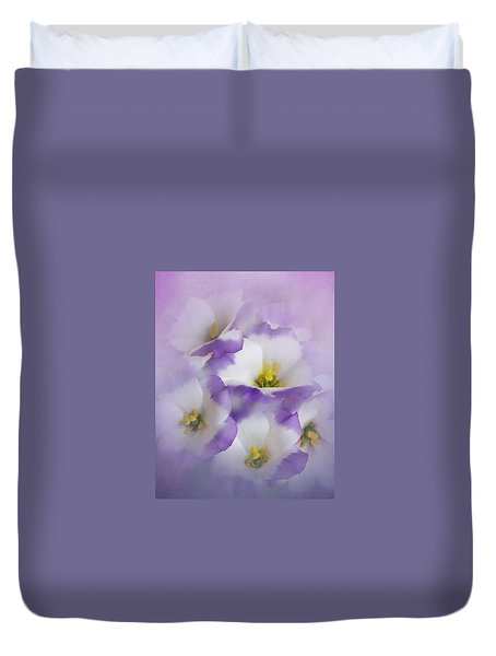 Duvet Cover featuring the photograph Lisianthus Grouping by David and Carol Kelly
