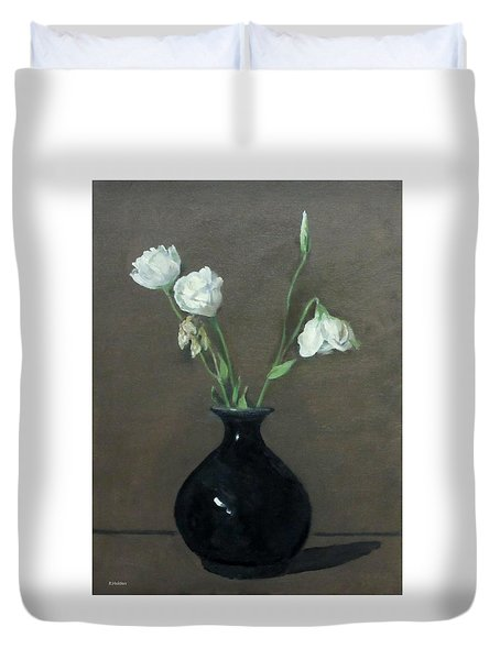 Lisianthus In Black Vase Duvet Cover