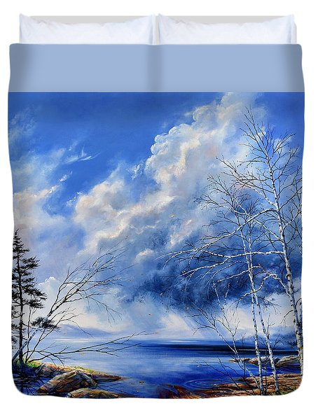 Duvet Cover featuring the painting Listen To The Rhythm by Hanne Lore Koehler
