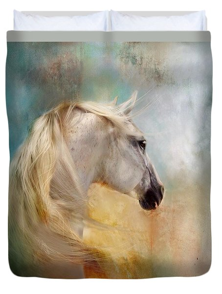 Duvet Cover featuring the digital art Listen To The Wind- Harley by Dorota Kudyba