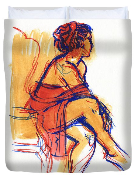 Duvet Cover featuring the painting Listening by Judith Kunzle