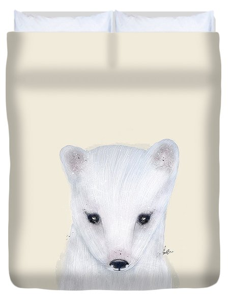 Duvet Cover featuring the painting Little Arctic Fox by Bri B