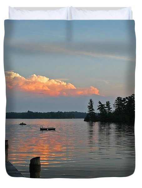 Little Bald Lake Duvet Cover by Barbara McMahon