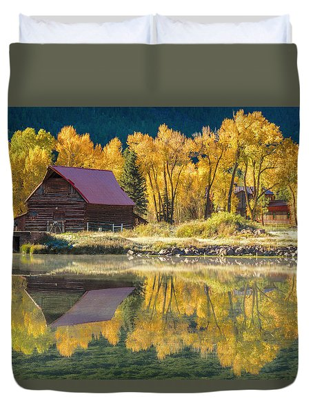 Little Barn By The Lake Duvet Cover by Teri Virbickis