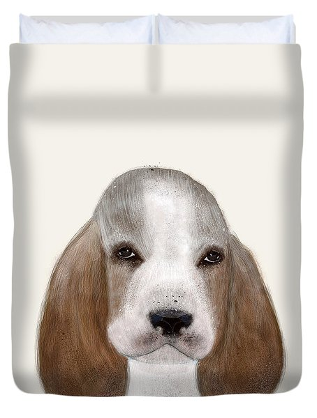 Duvet Cover featuring the painting Little Basset Hound by Bri B