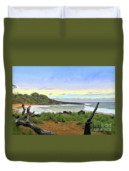 Duvet Cover featuring the photograph Little Beach by DJ Florek