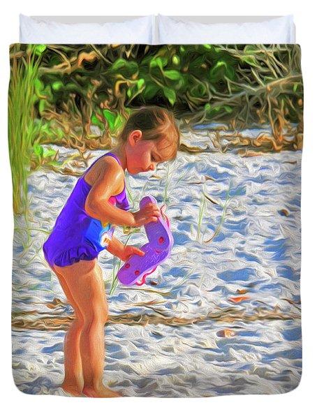 Little Beach Girl With Flip Flops Duvet Cover