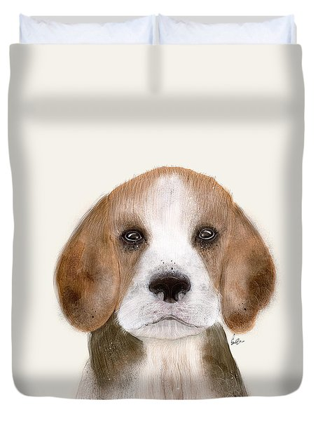 Duvet Cover featuring the painting Little Beagle by Bri B