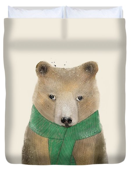 Duvet Cover featuring the painting Little Bear Brown by Bri B