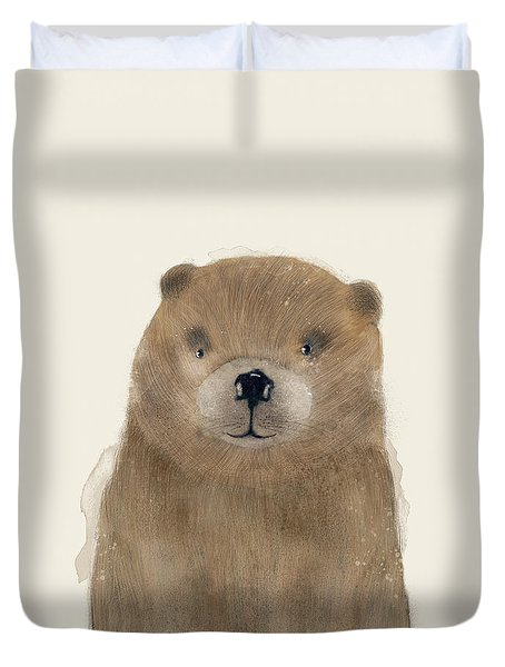 Duvet Cover featuring the painting Little Beaver by Bri B
