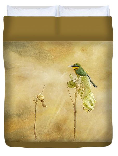 Duvet Cover featuring the tapestry - textile Little Bee-eater by Kathy Adams Clark