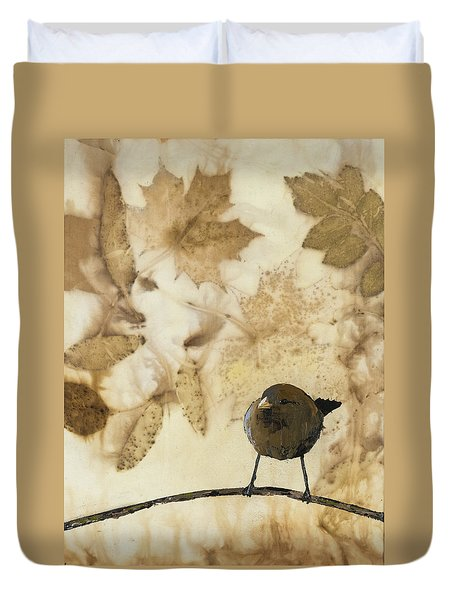 Little Bird On Silk With Leaves Duvet Cover