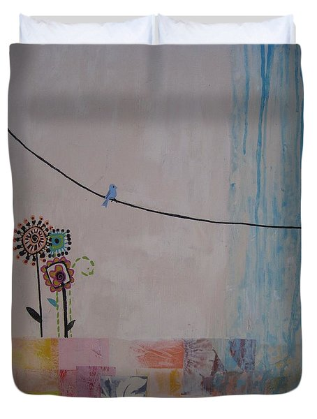 Duvet Cover featuring the painting Little Birdie by Ashley Price