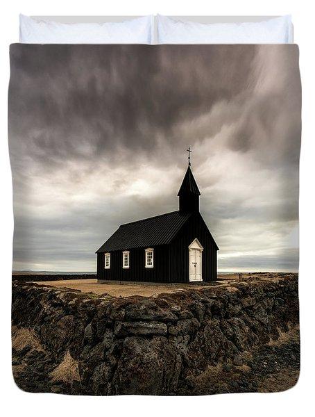 Little Black Church Duvet Cover