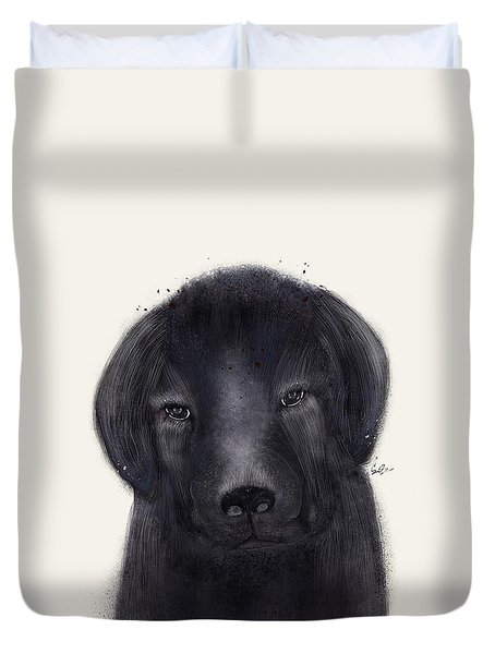 Duvet Cover featuring the painting Little Black Labrador by Bri B