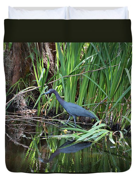 Duvet Cover featuring the photograph Little Blue Heron by Sandy Keeton