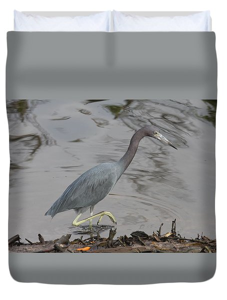 Duvet Cover featuring the photograph Little Blue Heron Walking by Christiane Schulze Art And Photography