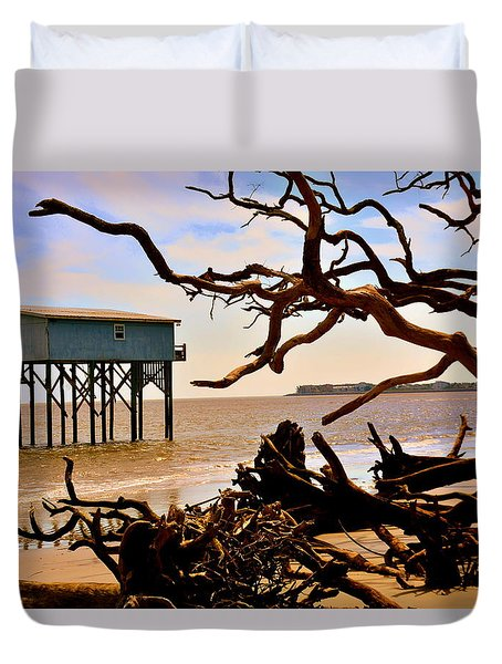 Little Blue Hunting Island State Park Beaufort Sc Duvet Cover