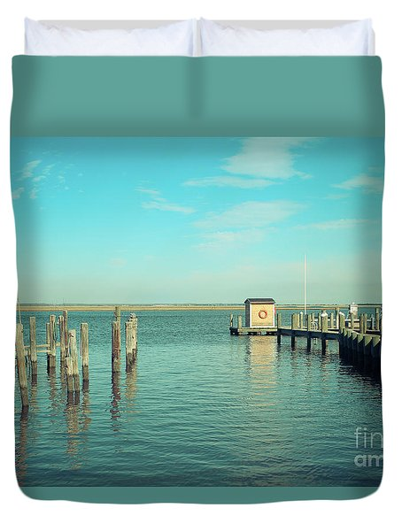 Duvet Cover featuring the photograph Little Boat House On The River by Colleen Kammerer