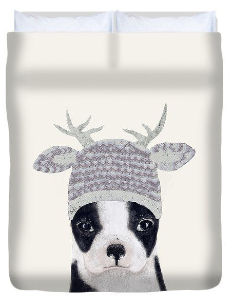 Duvet Cover featuring the painting Little Boston Deer by Bri B