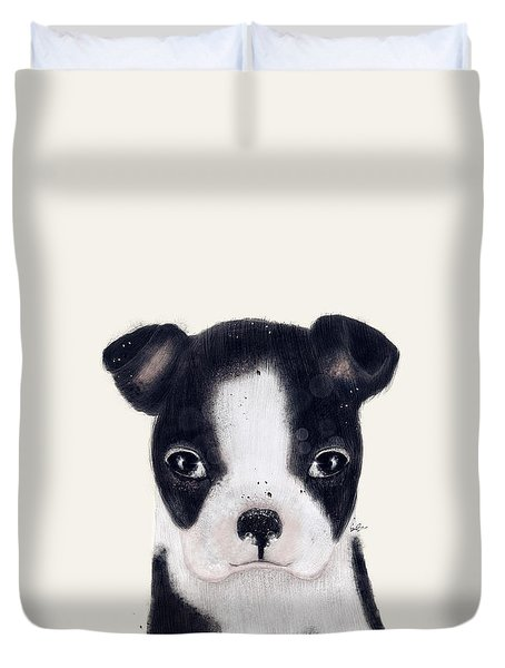 Duvet Cover featuring the painting Little Boston Terrier by Bri B