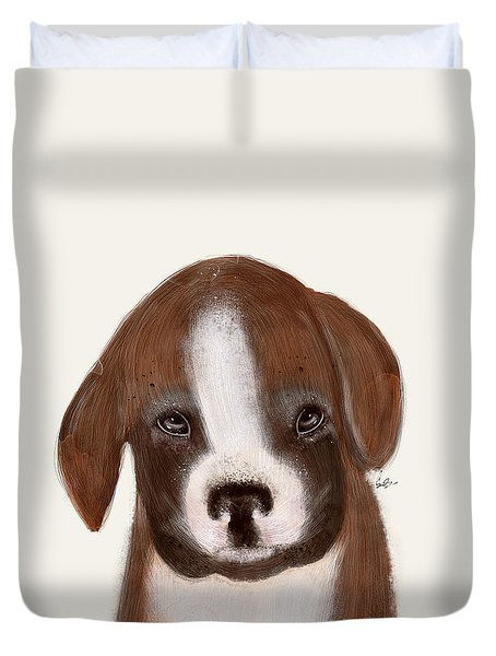 Duvet Cover featuring the painting Little Boxer by Bri B