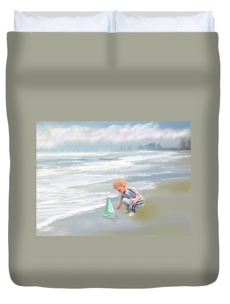 Little Boy And Boat Duvet Cover by Mary Timman