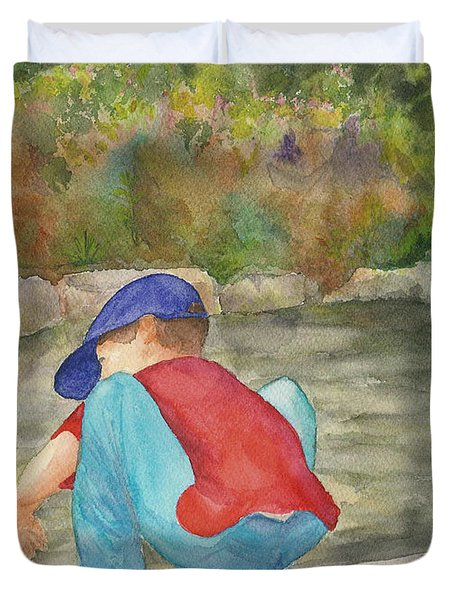Duvet Cover featuring the painting Little Boy At Japanese Garden by Vicki  Housel