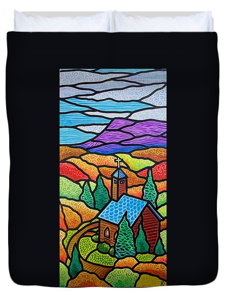 Duvet Cover featuring the painting Little Brown Church by Jim Harris