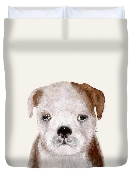 Duvet Cover featuring the painting Little Bulldog by Bri B
