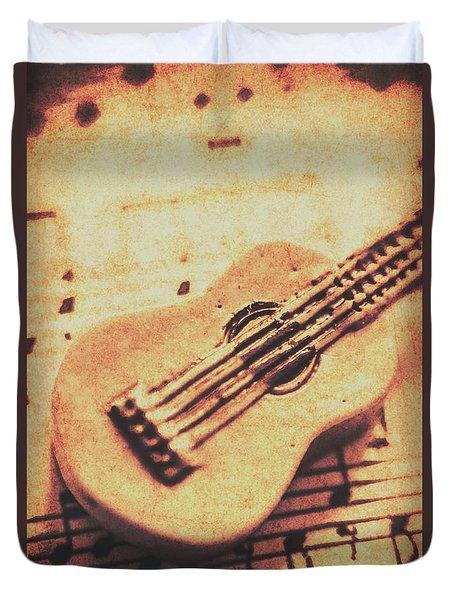 Little Carved Guitar On Sheet Music Duvet Cover