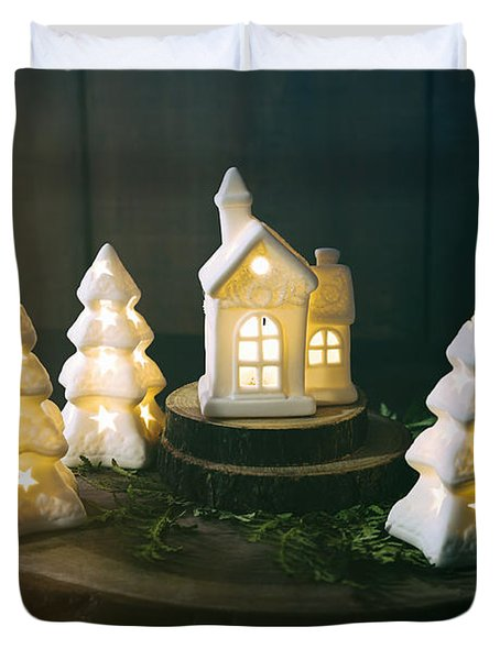 Little Ceramic Houses With Lights And Cedar Branches Duvet Cover