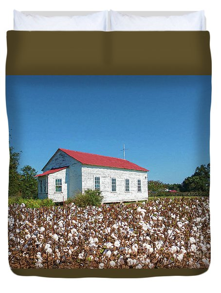 Duvet Cover featuring the photograph Little Church In The Cotton Field by Bonnie Barry