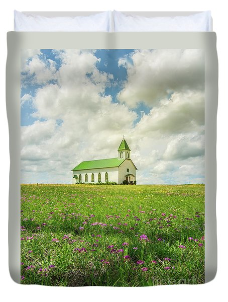 Duvet Cover featuring the photograph Little Church On Hill Of Wildflowers by Robert Frederick