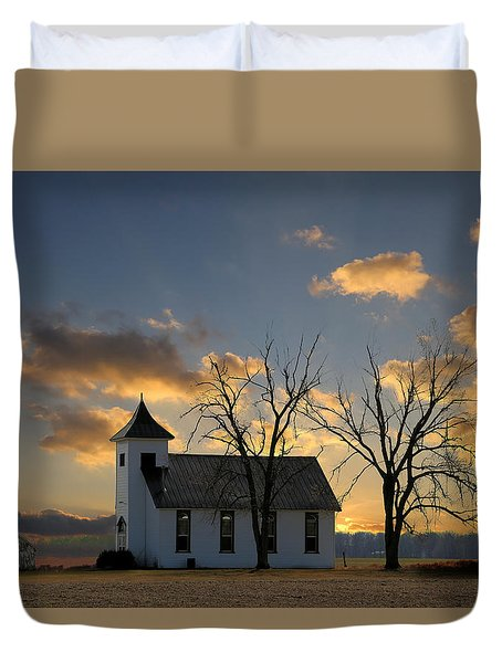 Little Church On The Prairie Duvet Cover