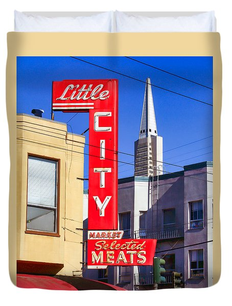 Little City Market North Beach San Francisco Duvet Cover