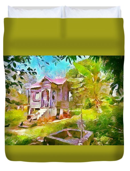 Caribbean Scenes - Little Country House Duvet Cover